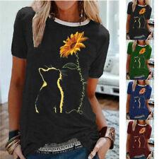 Women Summer Short Sleeve V Neck Casual T Shirt Sunflower Print Loose Top Blouse