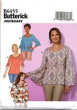 BUTTERICK SEWING PATTERN 6455 MISSES 4-14 TOPS - ELASTICISED NECK FLARED SLEEVES
