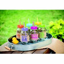 6-piece Mason Jar Set with Burlap Sleeves, Handles and Reusable Straws