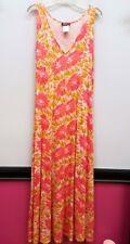 DKNY Size M Pink Yellow Floral VNeck Long Full Length Summer Maxi Dress Beach