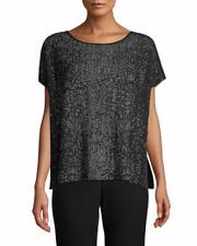 NWT $278 Eileen Fisher Sleek Tencel Bateau Neck Boxy Black Top Blswh Size L/XL