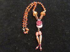 Stones Orange Unique Tribal Chic Statement Beaded Wooden Necklace Amber Rock