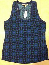 BANANA REPUBLIC WOMENS DRESS TANK TOP CAMI SZ L BLUE BLACK GREEN SLINKY NEW