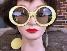 Hippie Chick Sunflower Yellow 1960's Vintage Mod Sunglasses, Earrings on Chain