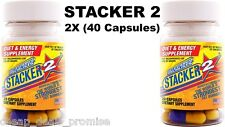 Stacker 2 Capsules 20ct Weight Loss Energy Dietary Supple (Lot 2 X Bottles) = 40