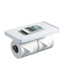 CRW Double Toilet Paper Holder with Phone Shelf for Bathroom Tissue Roll White