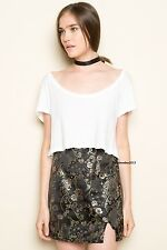 Last one! Brandy melville blak silky chinese floral mini moss skirt NWT XS/S