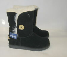 Black Winter Comfortable Flat Ankle Boot Fur Inside/Gold Button Size 5.5