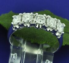 1.01ct 14k Solid White Gold Ladies Natural Diamond Ring Classy 5 stone made USA
