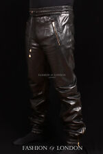 Men's JOGGER Black Lambskin Premium Real Soft Leather Jogging Trouser Draw Pants