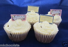 24 x stand up Willy Wonka bars / gold billets GAUFRETTE / riz carte cup cake topper / s A4