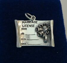 Sterling Silver 3D 20x23mm 5-6g Wedding Marriage License Charm