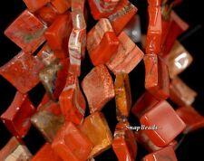 "21MM BRICK RED JASPER GEMSTONE BROW (DIAGONAL) DIAMOND SQUARE LOOSE BEADS 15.5"""