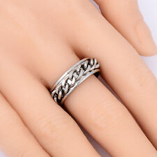 Wholesale Biker Chain Stainless Steel Spin Band Ring Size 8.5 Unique Cool