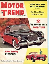 Motor Trend Magazine February 1956 Studebaker Plymouth VG No ML 052617nonjhe