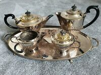 Vintage Plato Silver Plated Tea Set and Cooper Brothers Tray