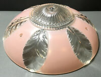 Vintage1930's Art Deco Flush Mount Light Fixture Ceiling Chandelier Pink Shade