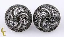 JJ Vintage Judith Jack SS .925 Earrings w/Marcasite Omega Backs Floral Design