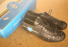 Vintage NOS NEW Detto Pietro Fausto Coppi black leather cycling shoes cleats 38