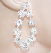 BOUCLES d'oreilles argent mariée strass cristaux pendantes longs cérémonie E200