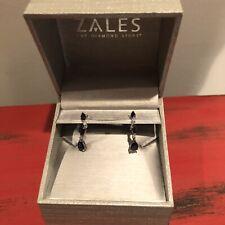 Zales 10K White Gold Genuine Sapphire and Diamond Drop / Dangle Earrings