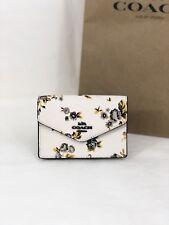 NWT Coach F59746 Prairie Floral Envelope Card Case Mini Wallet Key Ring Chalk 75