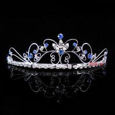 Beautiful Butterfly Flower Wedding Prom Blue Crystal Bridal Girl Tiara Headband