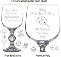 Personalised Crystal 9oz Wine Glass, Godmother Gift, Christening Gift,