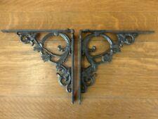 "New listing 2 Brown Antique-Style 9.5"" Shelf Brackets Cast Iron rustic garden Leaf Swirl"