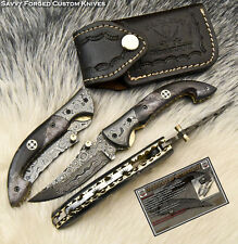 SFK CUTLERY CUSTOM HAND MADE DAMASCUS POCKET FOLDING KNIFE| LINER LOCK | FO-1773