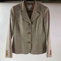 PENDLETON Women's Beige Wool Blend Lined Short Jacket Blazer Size 2 Petite