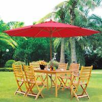 13' German Beech Wood Umbrella Patio Outdoor Garden Cafe Beach Pool Yard Red