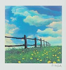 Fence Line David Najar 7 X 7 Signed in Plate Seriolithograph COA
