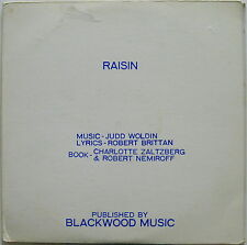 RAISIN Broadway Musical SCORE 1973 Promo Only WOLDIN BRITTAN Blackwood Music