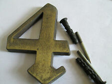 Hausnummer Nr. 4  Messing   11,5 cm x 8 cm gebraucht