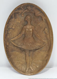 Vintage Naughty Bottoms Up Young Girl Bronze Tray Lifted Skirt Temptation Fruit