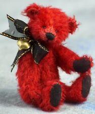 "Deb Canham ""Sweetheart"" Miniature Red Mohair Bear With Heart Charm 3 3/4"""
