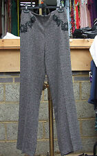 Joseph Ribkoff BNWT UK 10 Exquisite Grey Tweed Wide Leg Dressy Trousers Appliqué