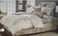 Martha Stewart Collection Garden Glimmer Queen Duvet Cover Ivory Retail $385.00