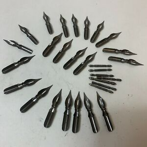 Hunt Artist Dip Pen Nibs Ex-Fine Bowl Pointed 512 Tips Lot Of 23 VTG Calligraphy