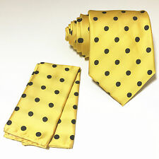 Yellow Black Polka Dots Neck tie & Pocket Square Hanky Set Wedding Prom