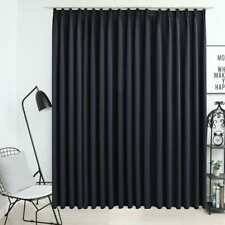 vidaXL Blackout Curtain with Hooks Black Blind Drapery Window Curtain Covering