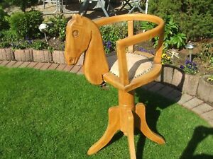 Extremely Rare Austrian Vienna 1920 child barber chair wood carved horse head