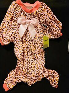 Fitwarm Leopard Pink Pijamas Fleece Pet Clothes Dog Coat Girl Jumpsuit Size: XXL
