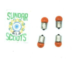 SET OF 4 ORANGE INDICATOR BULBS 12V 10W SUITABLE  FOR MOTORBIKES / SCOOTERS