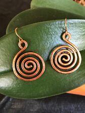 Spiral Earrings, Hammered Metal, Lightweight, Artisan, Choose Color, NEW