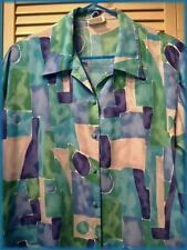 """T.MARIE SISSIES Polyester Career Blouse (14) Abstract Print 44"""" bust Made in USA"""