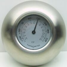 RETRO ROUND DOME THERMOMETER INDOOR / OUTDOOR WALL STAINLESS STEEL NEW 12101
