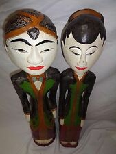 "Vtg Bali Painted Wood People Sculpture 29"" Statue Carved Art Indonesia Decor"