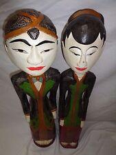 "Vtg Bali Wood People Man Woman Sculpture 29"" Statue Carved Asian Art Figures"